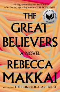 orange book cover with text reading The Great Believers A Novel by Rebecca Makkai